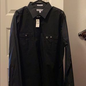 Express extra slim feet XL black dress shirt